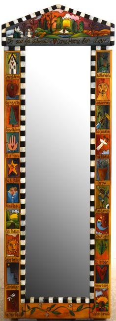 Sticks Furniture - Wood Wardrobe Peaked Wallmount Mirror