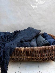 blanket storage + vintage basket via Anne Sage