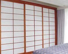 shoji with medium brown wooden frame