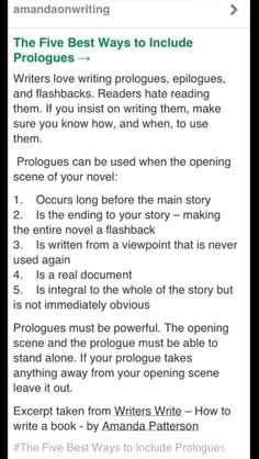 Are you struggling with writing your prologue for the opening of you book? Maybe this might help.