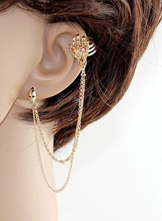 Gold Skull White Hand Clip On Earring