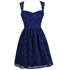Lily Boutique (280 PLN) ❤ liked on Polyvore featuring dresses, vestidos, short dresses, lace mini dress, blue a line dress, babydoll dress, blue cocktail dress and lace a line dress