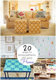 Great Ideas — 20 Ways to Bring Patterns into Your Home! Beautify your home by patterns. A simple but totally amazing idea. #DIYready