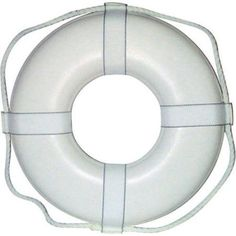 Jim-Buoy Closed Cell Foam U.S.C.G. Approved Life Ring with Webbing Straps, White