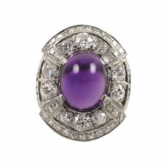 Sugarloaf Amethyst and Diamond Ring by Darcy