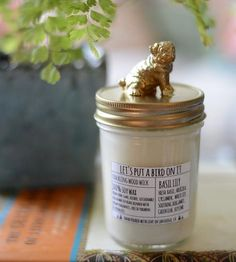 Pug Lid Basil Lily Scented Soy Candle | Home Decor | Let's Put A Bird On It | Scoutmob Shoppe