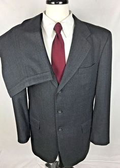 JOS A BANK Suit 42 Gray Wool Single Vent Blazer Jacket Pants 42 R #JosABank #TwoButton