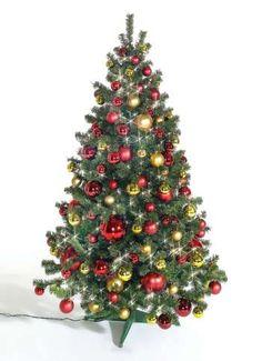 Weihnachtsbaum Slim Line 180x110 cm (H/Ø), grün, mit 480 LED's für innen und Dekor in rot/gold.