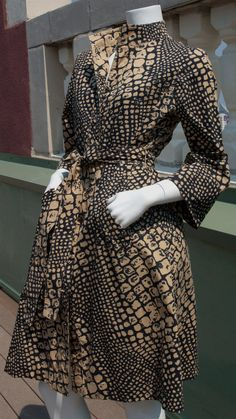Vintage alligator or crocodile print shirtwaist dress in blue and brown with three-quarter sleeves and belt circa 1970s from Recursive Chic @ recursivechic.com