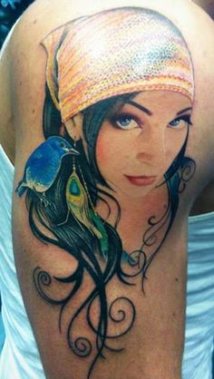 Girl. Earring. Bird. Tattoo by David Corden