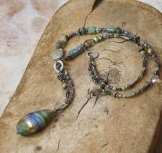 Large Blue and Green Basha Bead with Gemstone, Ancient Glass and Czech Glass Strand