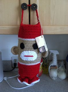 Sock Monkey Grocery Bag Holder Dispenser on Etsy, $14.00