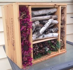 Insect Hotel made from a wine crate. This was so easy since it's the right size and comes with slots for the sections!! Easy peasy