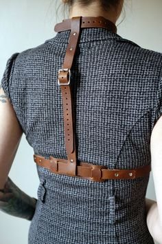 Real Leather Harness Brown steampunk burning man by Vontoon