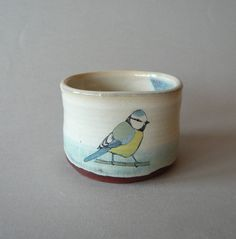 blue tit cup #Bird #Pottery