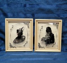 Antique Bubble Glass Silhouette Pair/ Courting by CurioCabinet