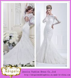 New Hot Elegant Mermaid Lace Keyhole Back Appliques Boat Neck Sweep Train Plus Size Long Sleeve Wedding Gowns Yj0034 on Made-in-China.com
