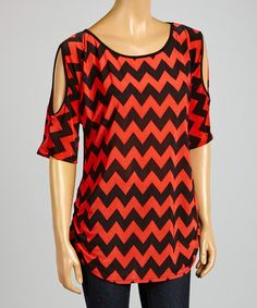 Love this Coral & Black Zigzag Cutout Tunic by ARIA FASHION USA on #zulily! #zulilyfinds