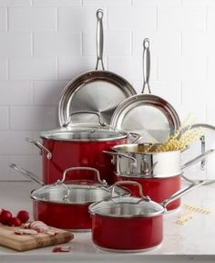 Cuisinart Chef's Classic Stainless Steel Metallic Red 11 Piece Cookware Set - Red