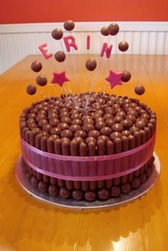Maltesers & chocolate finger cake with floating Maltesers ! Torta Candy, Candy Cakes, Cupcake Cakes, Chocolate Finger Cake, Chocolate Birthday Cake Kids, Maltesers Chocolate, Malteser Cake, 21st Cake, Novelty Cakes
