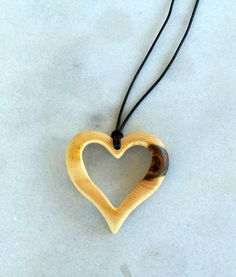 Handmade Wood Pendant - Carving Walnut tree branch Wave Heart Pendant, $24