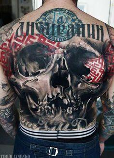 Abstract Skull Tattoo by Timur Lysenko | Tattoo No. 12598