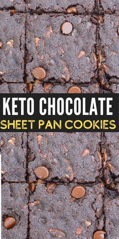 These rich Keto Double Chocolate Sheet Pan Cookies have just 3.6 net carbs each and require no chilling! This is the perfect quick and easy keto dessert recipe! Healthy Eating Recipes, Low Carb Recipes, Cookie Recipes, Dessert Recipes, Pan Cookies, Delicious Desserts, Yummy Food, Keto Dessert Easy, Homemade Cookies
