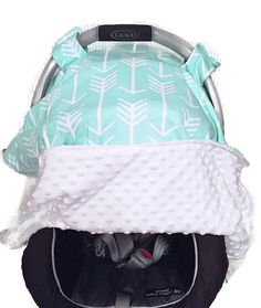 Baby Carseat Canopy in Mint Blue with Arrow Print by BizyBelle