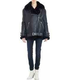 Acne Studios Shearling-Lined Leather Velocite Oversize Moto Jacket in Black