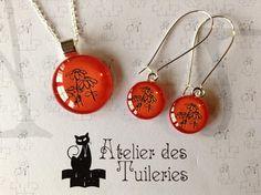 Ensemble Pendentif et boucles d'oreilles orange/noir