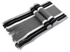 Black Striped Grey Winter Scarf