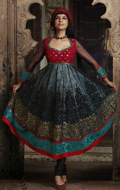 Black and Red and Teal Blue Net and Shimmer Full Sleeve Designer Salwar Kameez 16256 Indian Suits, Indian Dresses, Indian Wear, Indian Clothes, Indian Salwar Kameez, Churidar, Punjabi Suits Online Shopping, Buy Salwar Kameez Online, Red And Teal
