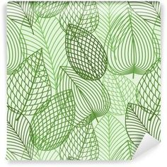 Seamless pattern of outline spring foliage with green leaves of birch. Interior wallpaper, background, accessories and fabric or textile design usage , Camper Fabric, Pattern Design, Print Design, Kitchen Artwork, Textile Prints, Image Photography, Green Leaves, Outline, Tapestry