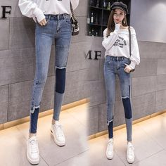 Color spliced jeans women 2019 spring and autumn Korean version of the new high-waisted thin pencil pants slim foot nine-point pants Kpop Outfits, Korean Outfits, Fashion Outfits, Korean Jeans, Skinny Inspiration, Thin Legs, Dolly Fashion, Skinny Girls, Kawaii Clothes