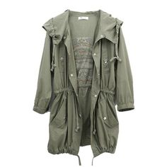 TM Fashion Womens Army Green Military Parka Button Trench Hooded Coat... (€28) ❤ liked on Polyvore featuring outerwear, jackets, tops, casacos, army green hooded parka, olive parka, hooded military parka, military trench coat and army green parka
