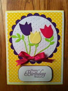Tulip card...made with Stampin up bird punch...