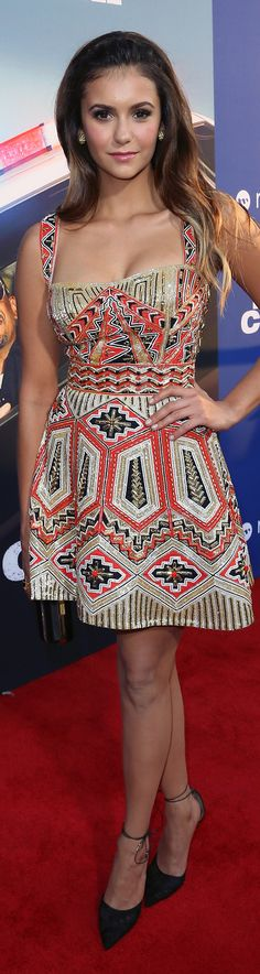 Nina Dobrev's Zuhair Murad dress was all the color she needed at the LA premiere of Let's Be Cops.
