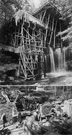 Construction of the Kaufmann Residence - better known as Fallingwater - designed by Frank Lloyd Wright in 1935 and completed in Photo: Taschen Frank Lloyd Wright Style, Falling Water Frank Lloyd Wright, Frank Lloyd Wright Buildings, Art Deco Buildings, Modern Buildings, Beautiful Buildings, Falling Water House, Falling Waters, Usonian