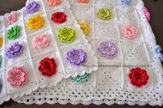 Hobilerim ve ben Baby Afghan Patterns, Baby Afghans, Crochet Patterns, Crocheted Afghans, Crochet Pillow, Ribbon Embroidery, Crochet Flowers, Weaving, Blanket