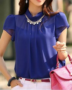 Short Sleeve Stand-Up Collar Pullover Chiffon Women's Blouse