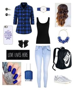 """#blue"" by letnik-julija on Polyvore featuring Twenty, Glamorous, adidas, NIKE, Black, Kate Spade, Essie and Casetify"