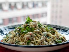 "Healthy Pasta with Spicy Crab: Portion control is key when it comes to foods like pasta. Bobby Flay says, ""you can have pasta, just a little bit at a time."""