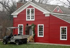 Little Red House with white trim