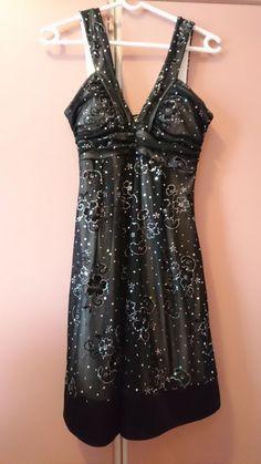 Black shimmer sequin dress mini size M #Deb