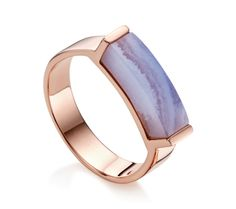 This contemporary ring features a vibrant 15.5mm x 4.1mm blue lace agate gemstone. Each stone is unique in both personality and pattern, and the open setting of the ring giving the illusion of a floating stone. Stack with other Linear Stone rings for a fresh and individual look.