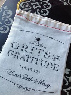 Grits and Gratitude Custom Wedding Favor Bags  by SixpencePress, $85.00