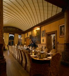 Dining room and Gallery at Castle Leslie in County Monaghan, Ireland Blue Books, Ireland, Dining Room, Rustic, Gallery, House, Castle Weddings, Home Decor, Woodland