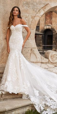 30 Unique & Hot Sexy Wedding Dresses ❤ sexy wedding dresses sweetheart neckline off the shoulder lace with train moonlight #weddingforward #wedding #bride