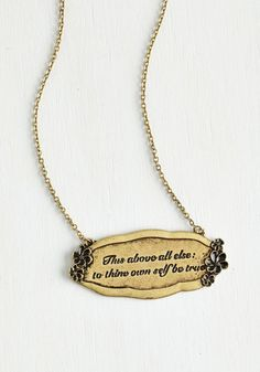 That Polonius Guy Necklace - Solid, Scholastic/Collegiate, Darling, Nifty Nerd, Sayings, Gold, Exclusives
