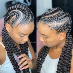 Big Cornrow Braids, Big Cornrows Hairstyles, Cornrows With Beads, Quick Braids, Weave Hairstyles, Black Hair Braid Hairstyles, Two Braids Hairstyle Black Women, Dope Hairstyles, Natural Hair Braids